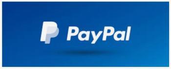 PayPal-logo på blå bakgrunn.